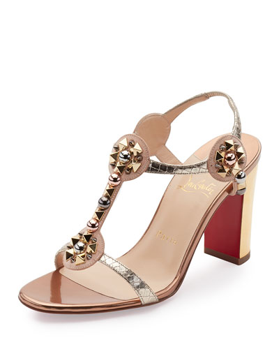 Kaleitop Spike T-Strap 85mm Red Sole Sandal, Version Doudou
