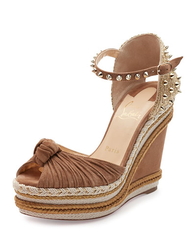 Madcarina Knotted 120mm Wedge Red Sole Sandal, Cappuccino