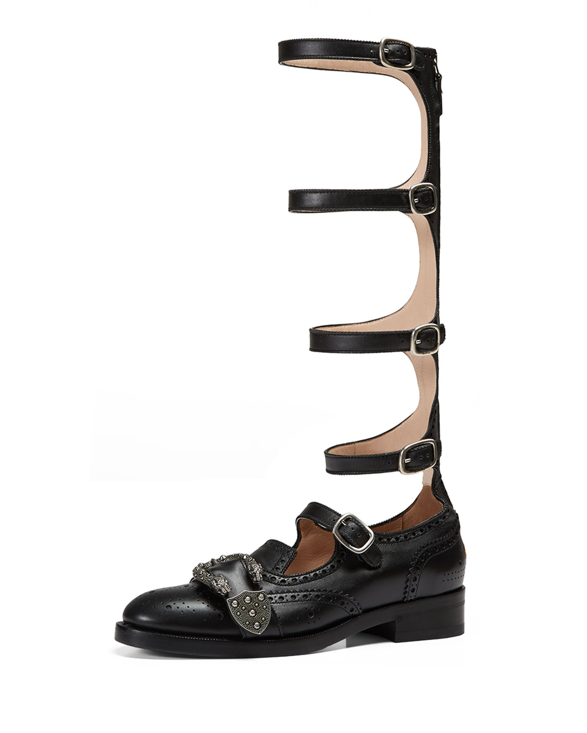 Leather Brogue Gladiator Boot, Black