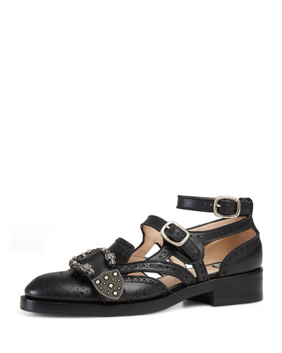 Cutout Brogue Leather Flat, Black
