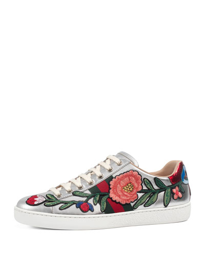 New Ace Floral Leather Sneaker, Silver