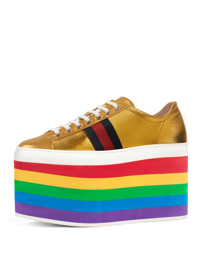 Peggy Leather Platform Sneaker, Rainbow/Gold
