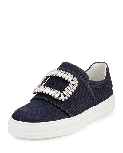 Sneaky Viv Strass Denim Pump, Dark Blue/Multi