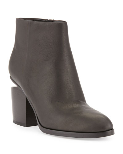 Gabi Tilt-Heel Leather Boots, Black/Rhodium