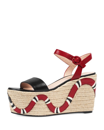 Barbette Snake-Appliqué Espadrille Wedge Sandal, Black/Red