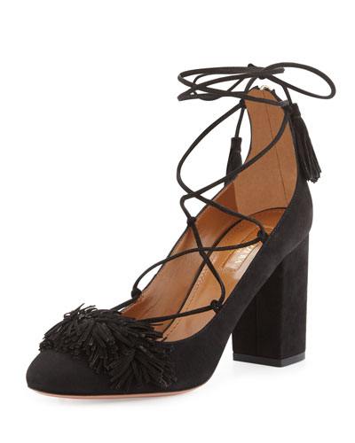 Wild Thing Fringe Block-Heel Pump, Black