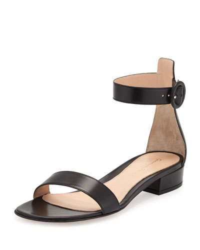 Portofino Leather Ankle-Wrap Sandal, Black