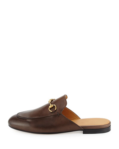 Princetown Leather Horsebit Mule Slipper Flat, Brown