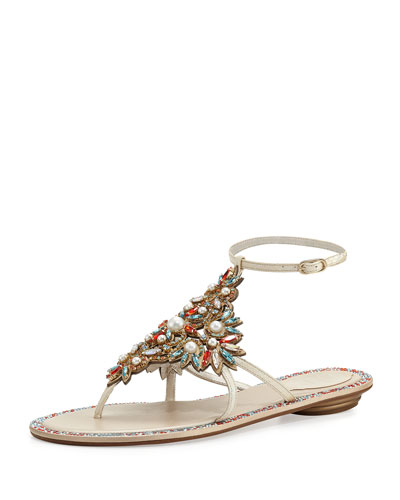 Crystal & Pearly Ankle-Wrap Thong Sandal,  White