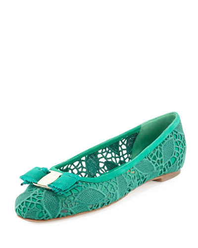 Lace Ballerina Flat, Green
