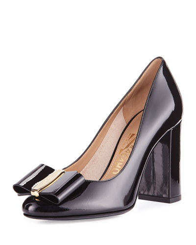 Elinda Patent Bow 85mm Pump, Black (Nero)