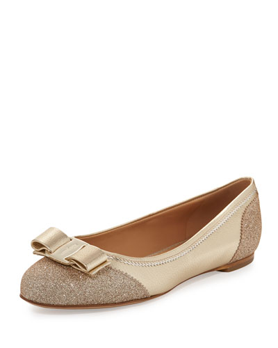 Glitter Cap-Toe Flat, Platino Gold