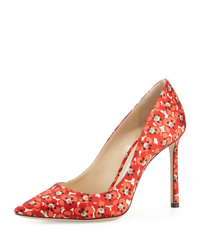 Romy Floral-Print 100mm Pump, Red Pattern
