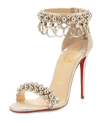 Gypsandal Ring-Trim 100mm Red Sole Sandal, Latte