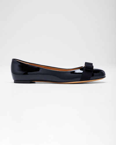 Varina Patent Bow Ballerina Flat, Nero
