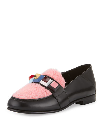 Convertible Studded Shearling Moccasin, Black/Bubble Gum