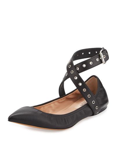 Love Latch Metallic Ankle-Wrap Flat, Nero