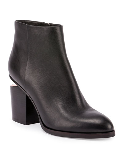 Gabi Tilt-Heel Leather Boots, Black