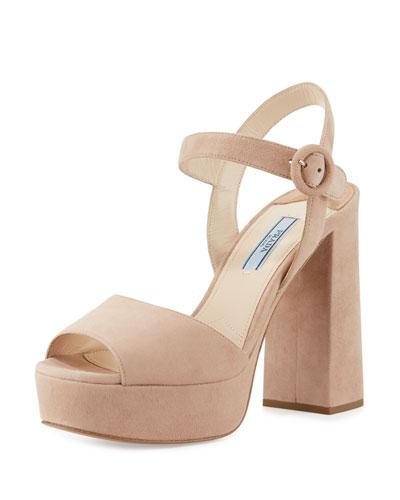 Suede Platform Ankle-Strap Sandal, Nudo