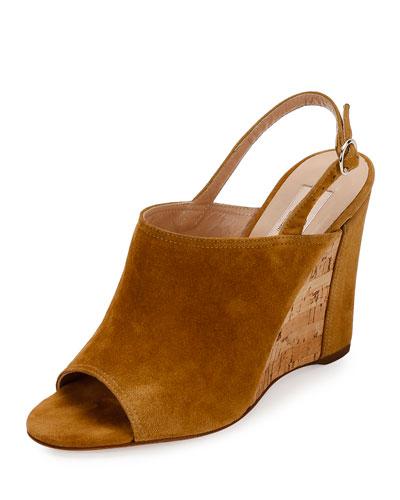 Erin B. Suede Wedge Sandal, Tan/Camel