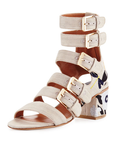 Nora Embroidered Buckle-Strap Sandal