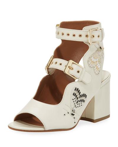 Noe Beaded Two-Strap Sandal, White