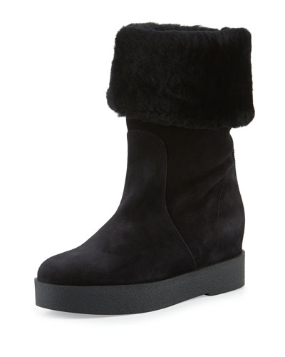 Shearling Fur-Lined Boot, Black