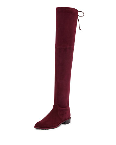 Lowland Stretch-Suede Over-the-Knee Boot, Bordeaux
