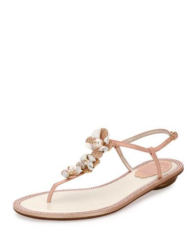 Floral-Embellished Crystal Flat Thong Sandal, Nude