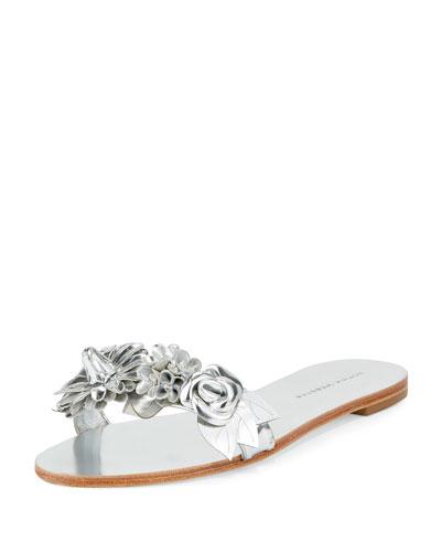 Lilico Metallic Rosette Sandal Slide, Silver