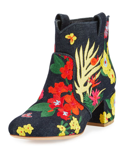 Belen Floral-Embroidered Denim Bootie, Dark Blue
