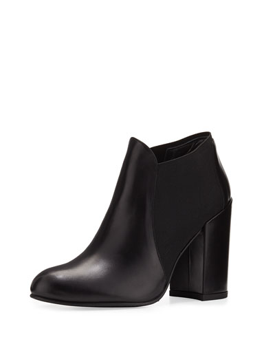 Slip Up Leather Pull-On Bootie, Black (Nero)