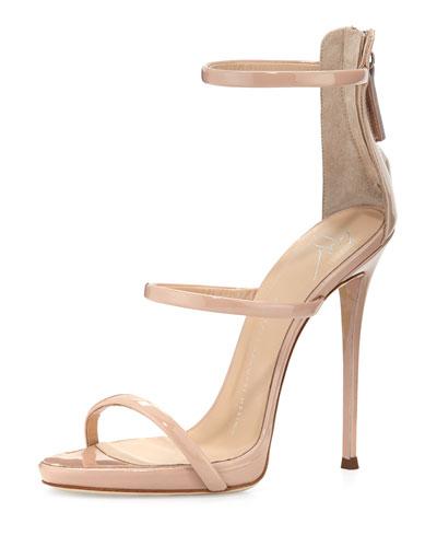Coline Patent Triple-Strap 110mm Sandal