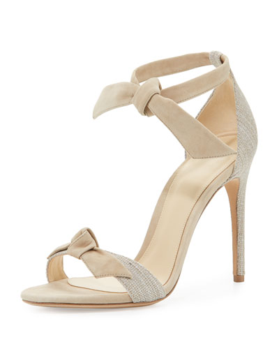 Clarita Knotted Leather & Linen Sandal, Natural/Balm