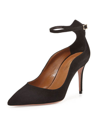Dolce Vita Suede 85mm Ankle-Strap Pump, Black