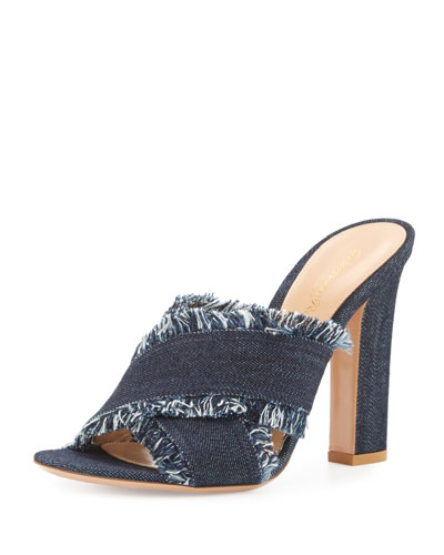 Lela Frayed Denim 105mm Slide Sandal, Navy