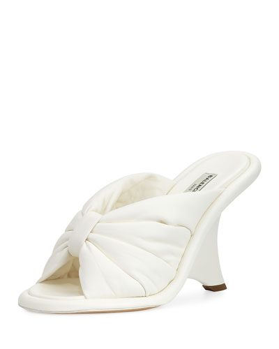 Bow Wedge 110mm Sandal, Ivory