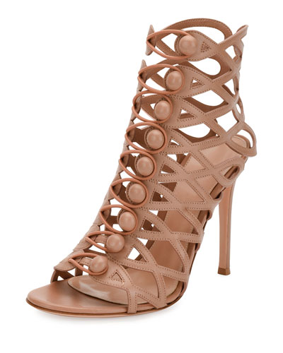 Looped-Button Cage Bootie, Neutral