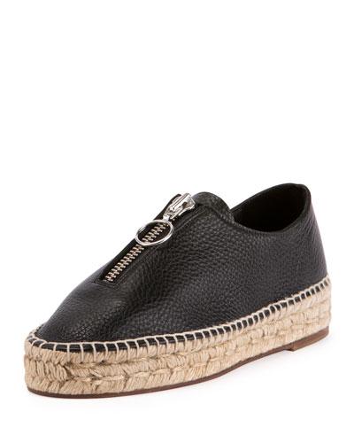 Devon Leather Zip-Front Espadrille, Black