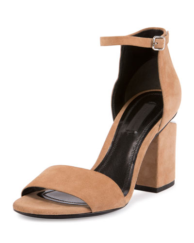 Abby Suede Tilt-Heel City Sandal, Neutral