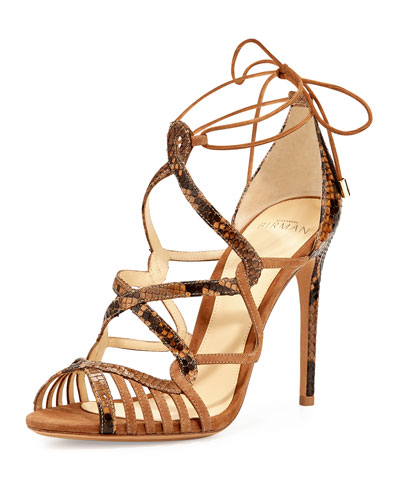 Marina Suede & Python Lace-Up Sandal, Tan