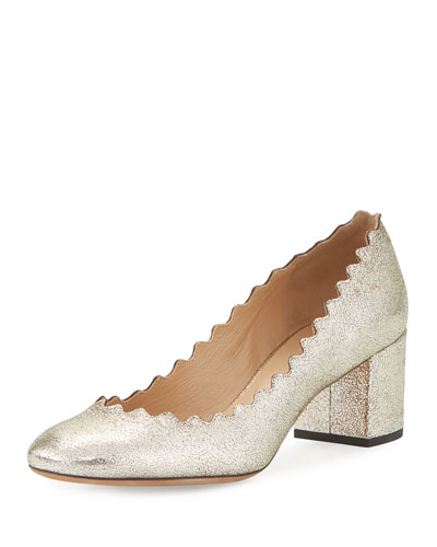 Lauren Leather 50mm Pump, Gray Glitter