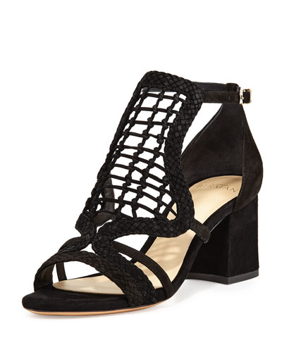 Anna Crocheted Leather Block-Heel Sandal, Black