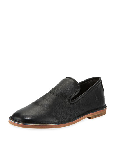 Percell Tumbled Leather Loafer, Black
