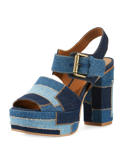Tara Patchwork Denim Platform Sandal, Navy/Light Blue