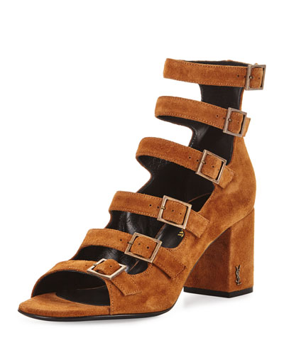 Babies Suede Buckle Sandal, Brown