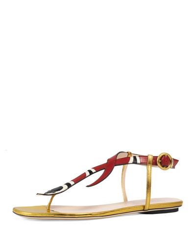 Yoko Snake-Print T-Strap Sandal