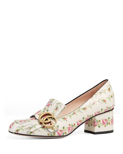 Marmont Rose-Print Leather Pump