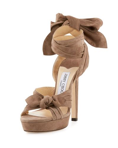 Vixen Suede Knot Ankle-Wrap Sandal, Light Mocha
