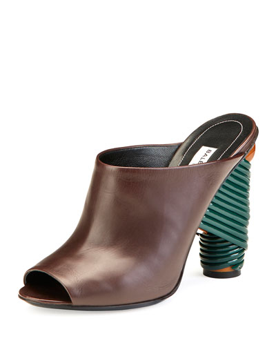 Leather Wrap-Heel Mule Pump, Marron Cachou
